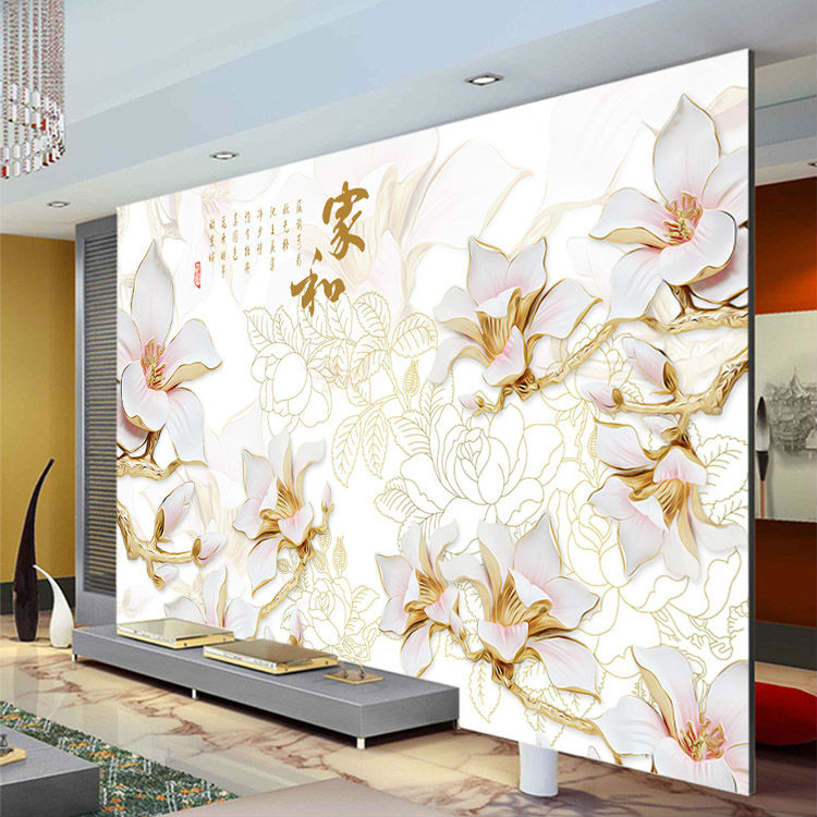 Elegant Anaglyph orchids Photo Wallpaper Custom 3D Wall Murals Chinese style wallpaper Kids Bedroom Interior Design Room decor interior design
