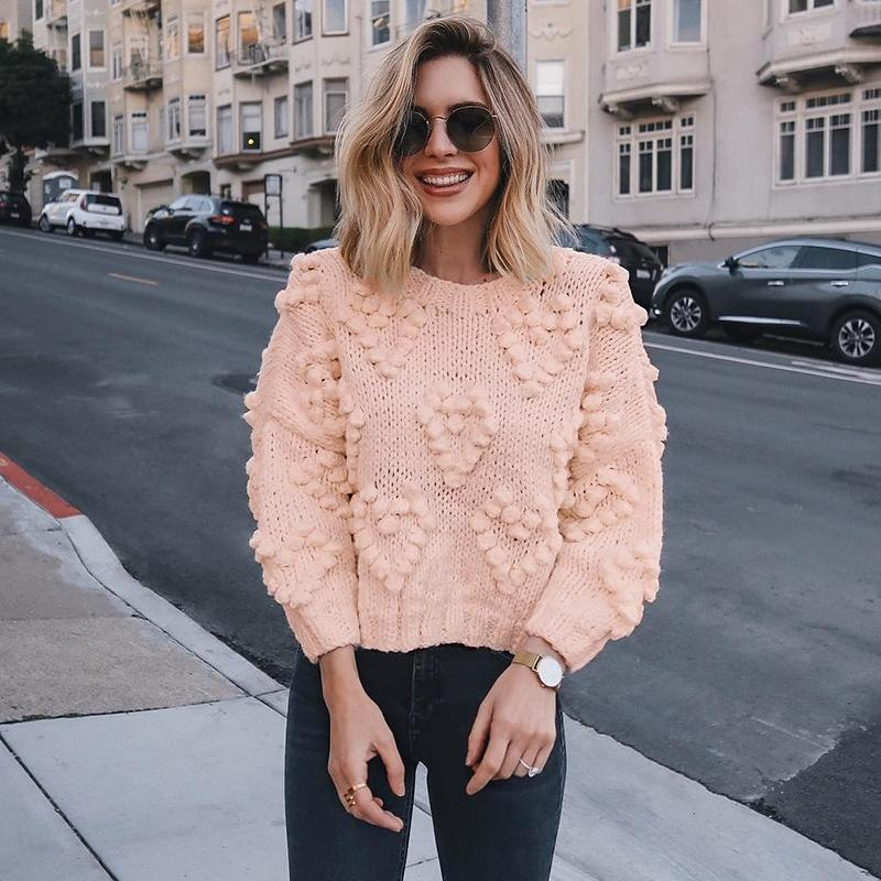 Mossha Pink lantern sleeve Casual knitted sweater women 2019 Autumn Ladies Jumper o-neck Loose Pompon Pullovers female sweater 2