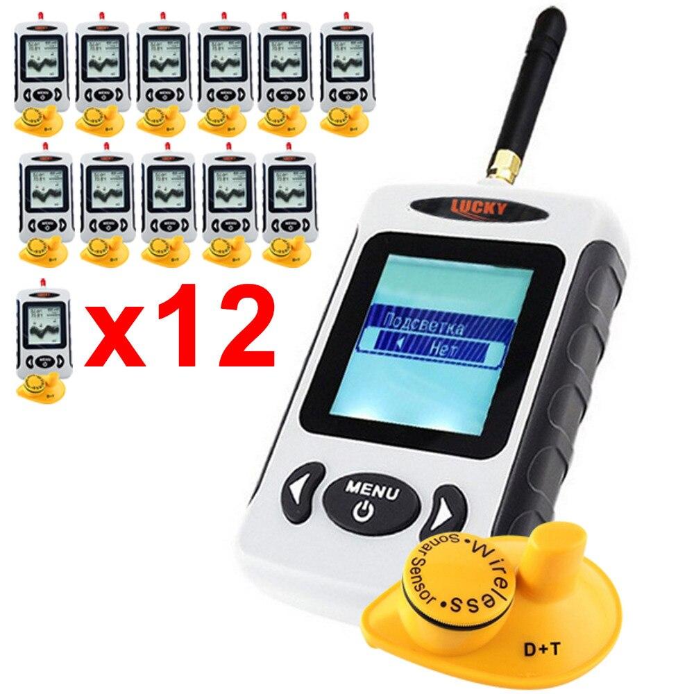 12 x pieces LUCKY FFW-718 Russian Menu Digital 45M Wireless Sonar Sensor Fish Finder River Lake Sea Fishfinder сони иксперия z2 на китайских сайтах