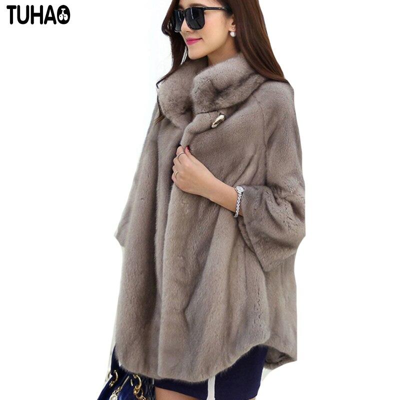 TUHAO Autumn Winter WARM THICK Faux Fur Coats Women Long Slim Fur Coat Outerwear Female Warm