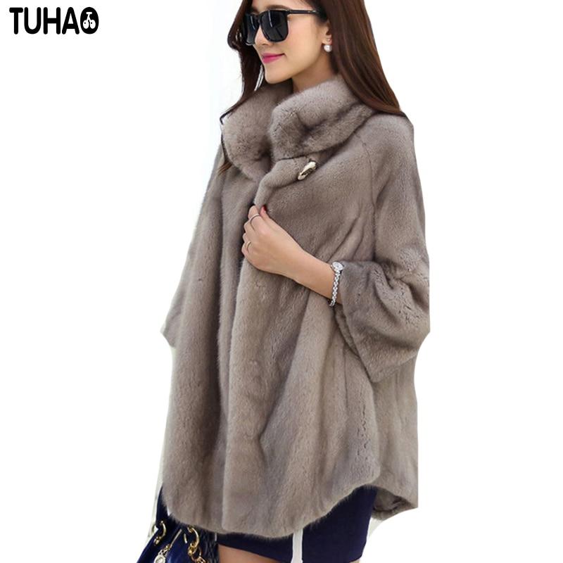 TUHAO Autumn Winter WARM THICK Faux Fur Coats Women Long Slim Fur Coat Outerwear Female Warm Outwear Coats for Women FR 1