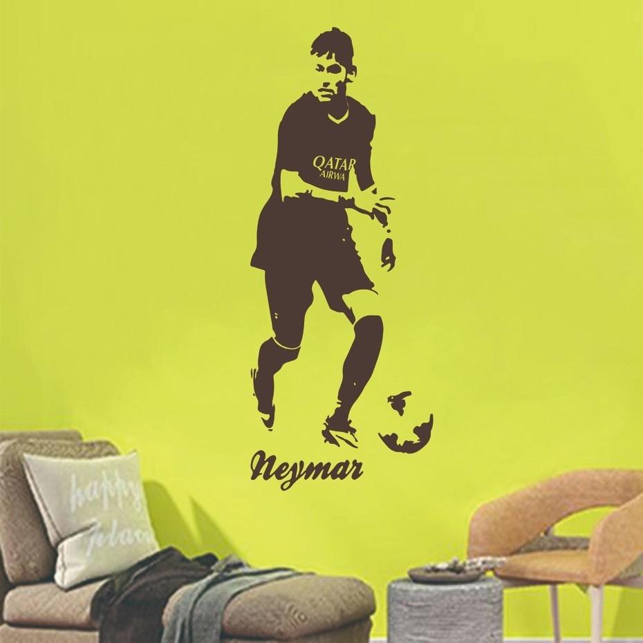 Neymar footballer soccer star wall sticker vinyl art decals sport ...