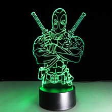 Boy Bedroom Decor 3D LED Visual 7 Colors Gradients Deadpool Night Light Table Desk Lamp Best Toys Gift Hero Figure Light Fixture