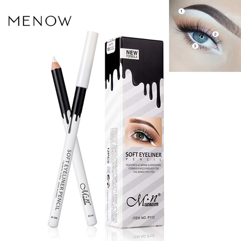 MENOW Brand White Eyeliner Makeup Smooth Easy to Wear Eyes Brightener Eye Liner Pen Waterproof Make Up White Eyes Liner Pencils