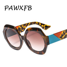 PAWXFB Newest hexagon Sunglasses Women Men Leopard Sun glasses Fashion Gradient Eyeglasses Oculos de sol Shades