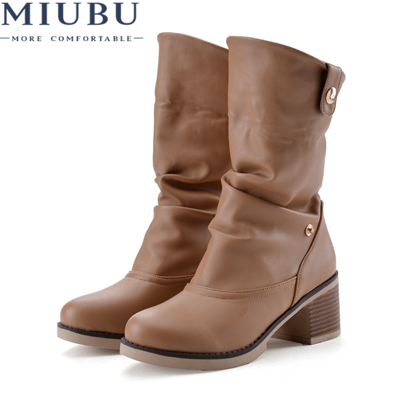 MIUBU Vintage Women Boots Western Shoes Chunky Mid Heels Round Toe Mid Calf Boots Ladies Shoes White Brown Large Size 42 43 new arrival superstar genuine leather chelsea boots women round toe solid thick heel runway model nude zipper mid calf boots l63