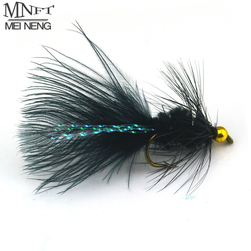 MNFT 10PCS 8# Black Woolly Bugger Black Color with Flashabou Crystal Decorated Tail Fly Fishing Lure Streamer Bead Golden Head mnft 10pcs 8 black woolly bugger black color with flashabou crystal decorated tail fly fishing lure streamer bead golden head