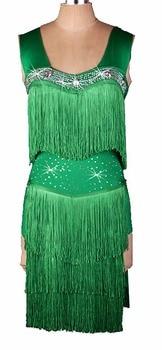custom custmize Green Color Fringe Tassel latin Rumba cha cha salsa tango one-piece dance dress competition wear S-XXXL