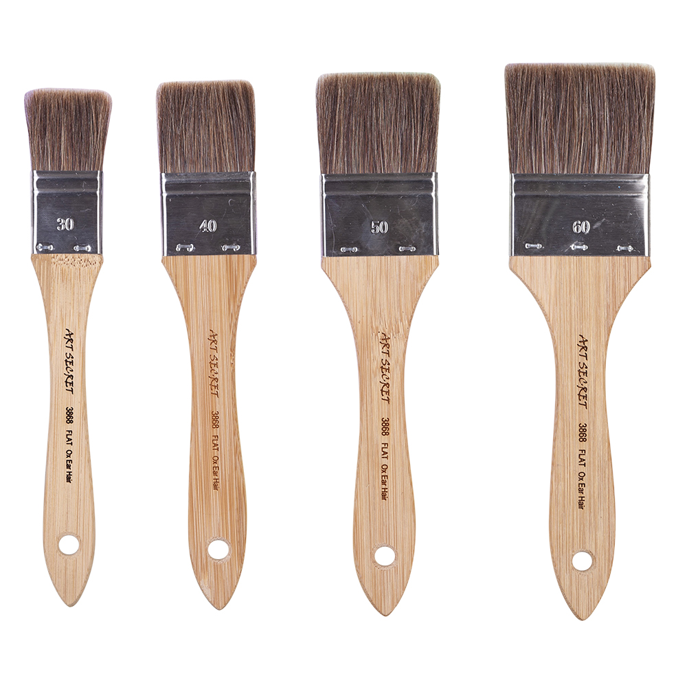 High Quality 3868Flat  Wooden Handle Metal Ferrule Wooden Handle Ox Ear Hair Watercolor Acrylic Color Artist Art Paint Brush