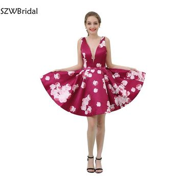 New Arrival vestido formatura V Neck Short Prom dresses 2020 Knee length Red Prom dress Vestido de festa Vestido de festa curto