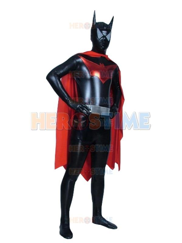 Shiny Metallic Batman Superhero Costume DC Comics Zentai Batman Cosplay Mens Halloween Bodysuit with Cape