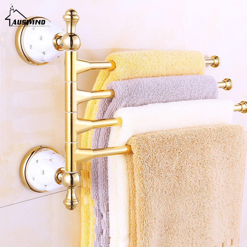 Gold Plated Ceramic Base 3/4 Arm Towel Rod Towel Bar Four Bar Five Bar 270 Degree Rotation Towel Hanging Rack Brass Bathroom Set комплект серебро с раухтопазом и фианитами присцилла
