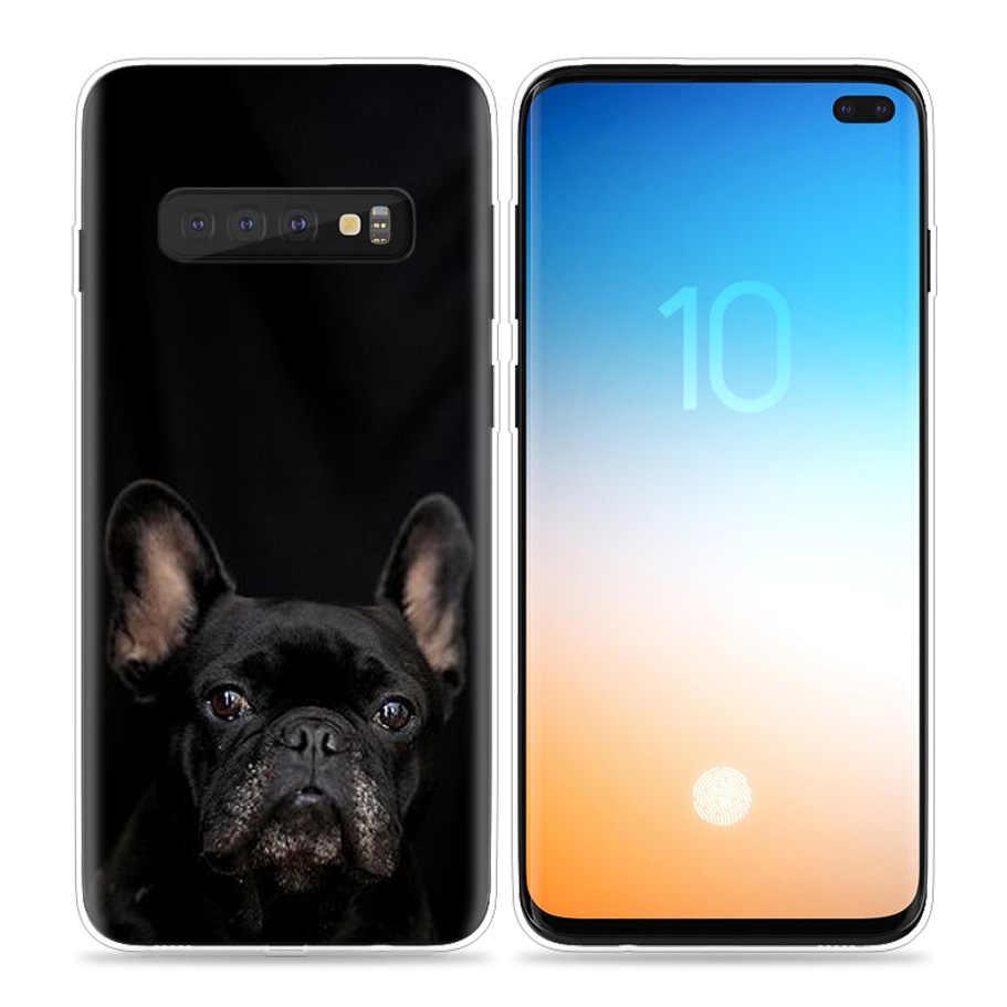 Buldog francuski fajna obudowa do Samsung Galaxy S20 Plus S8 S9 S10 5G S10e S7 uwaga 8 9 J4 J6 2018 silikon torba na telefon Capa Coque