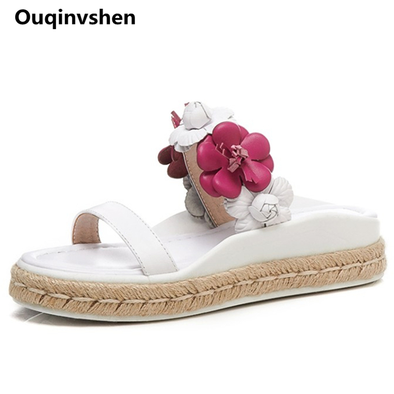 Ouqinvshen Flower Peep Toe Slippers Women Wedges White Genuine Leather Sweet Women Summer Shoes Fashion Casual Platform Shoes breathable peep toe women s wedges platform shoes summer 2017 knit woven plaid casual shoes women walking shoes