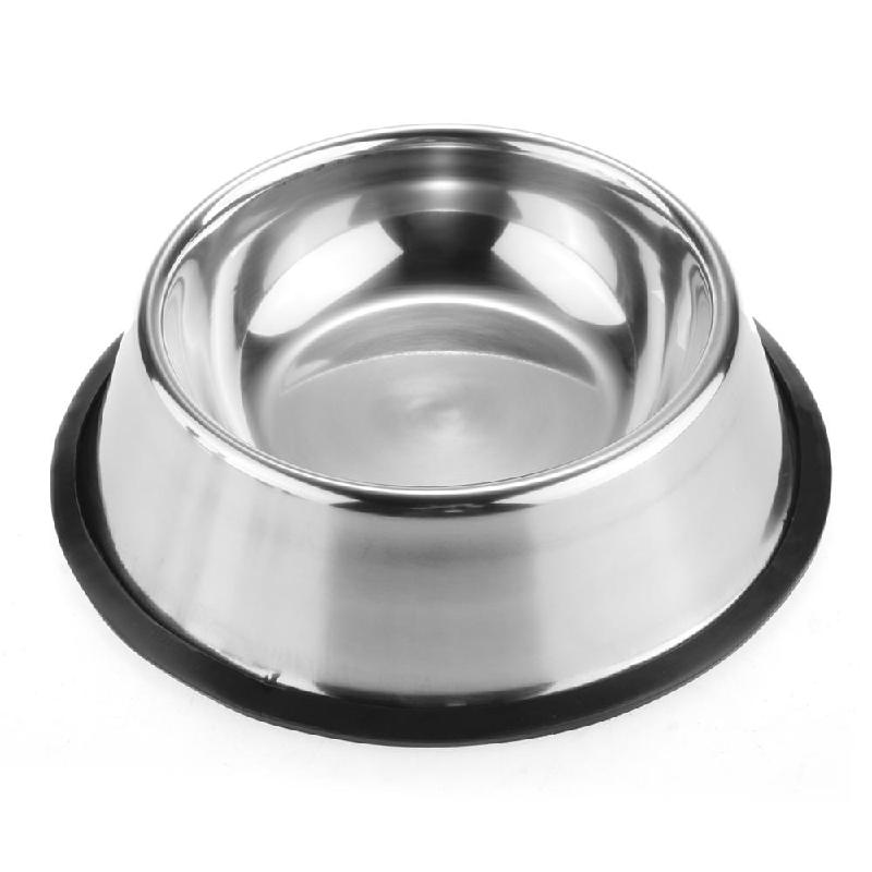 Dog Puppy Pet Cat Food Water Dish Feeding Bowl 1.5L Stainless Steel Dog Feeders Silver Anti-Skid 1.5L