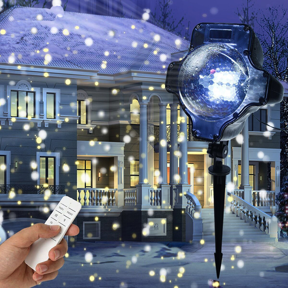 Christmas Stage Lights Dynamic Snowfall Laser Projector Light IP65 Waterproof Outdoor Garden House Landscape Snowflake Projector