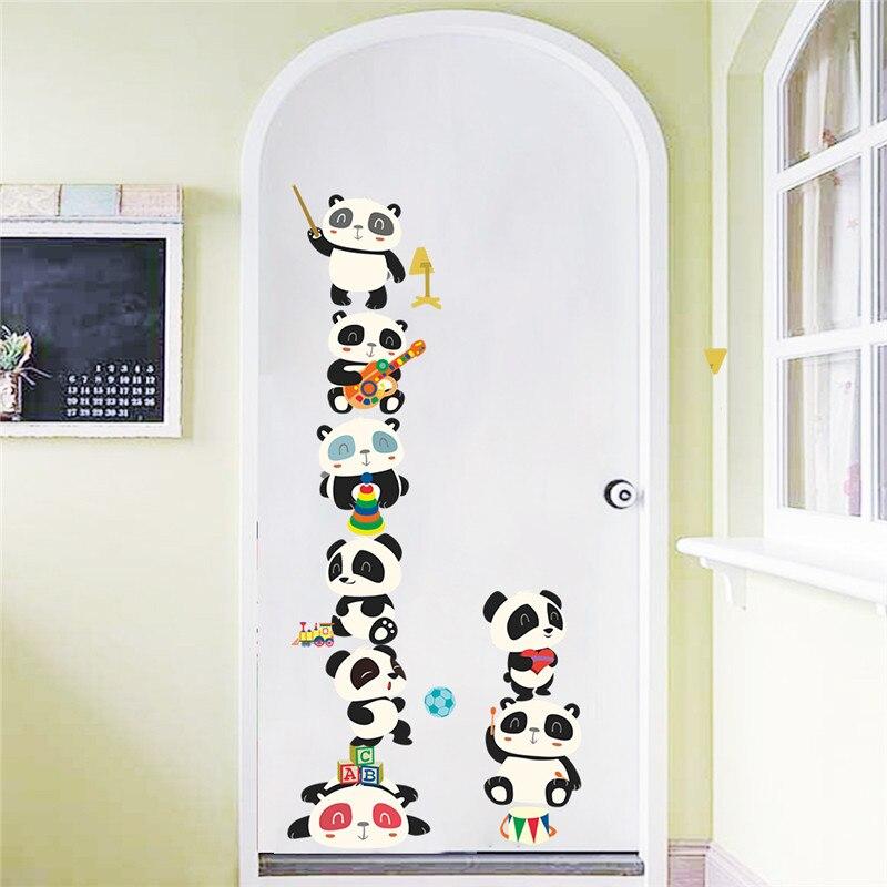 Забавные панды бамбуковая гитара высота измерения настенные наклейки для детских комнат животные Рост Диаграмма настенные наклейки перек...