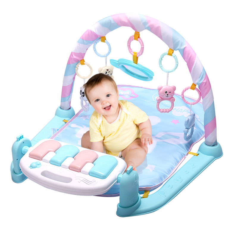 Baby Playmat Kids Fitness Rack Piano Keyboard With Cute Animal Blanket Rattles Toys Baby Gym Crawling Activity Mat Educational