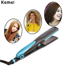 Big discount Kemei 360 Swivel Cord 2-in-1 Ceramic Tourmaline Corn plate Straightening Irons Curler Plate Hair Straightener Hair Styling Tool