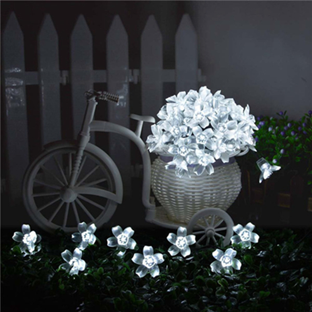 lederTEK Brand Solar Fairy String Lights 21ft 50 LED White Blossom Decorative Gardens, Lawn, Patio, Christmas Trees , Parties