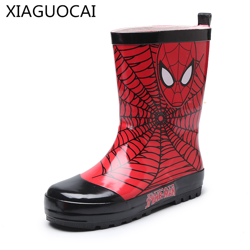 Durable Waterproof Rain Boots Rubber Boots Boys Shoes Spiderman 26-32 #G4