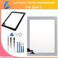 Comerciante ll alta calidad de piezas de repuesto de cristal para ipad 2 Pantalla Táctil digitalizador + Cinta Adhesiva Pegamento Con El Botón Negro y blanco