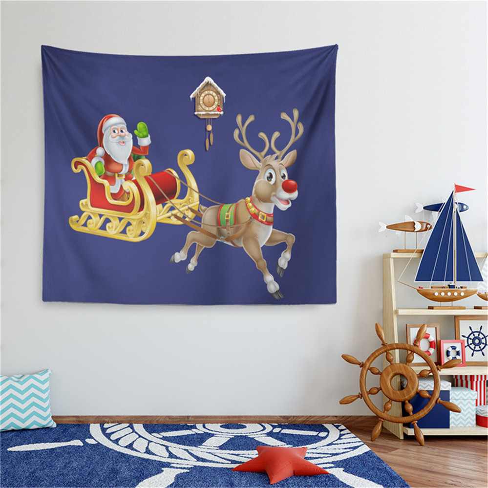 Christmas Festival Cartoon Images.Us 12 98 25 Off Christmas Festival Tapestry Cartoon Santa Claus Taking Sled Wall Hanging Deep Blue Purple Wall Carpet Outdoor Mat Home Decor D25 In
