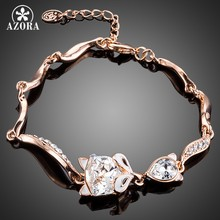 AZORA Fox Lady With Rose Gold Color Stellux Austrian Crystal Bracelet for Women TS0104(China)
