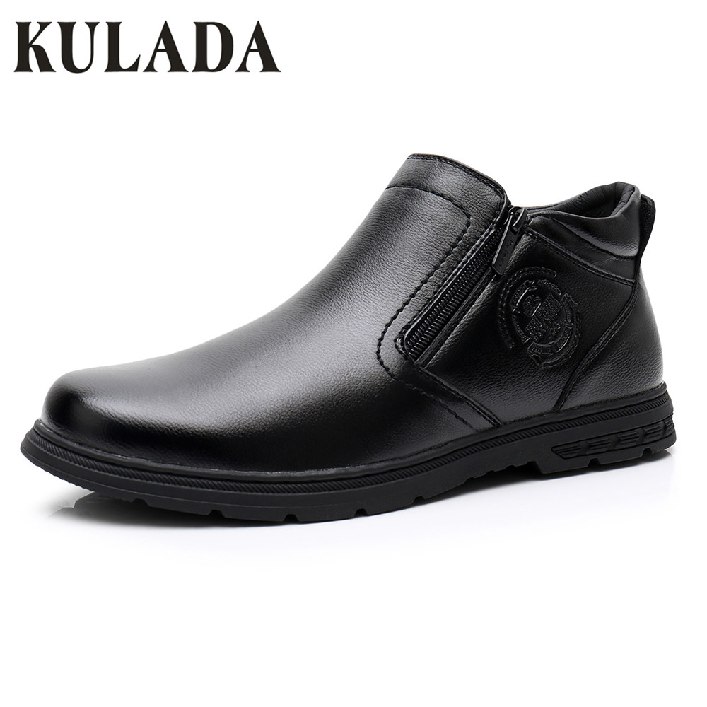 KULADA/Новое поступление, двойная молния сбоку, мужские кожаные удобные повседневные ботинки, мужские зимние теплые ботинки, мужские ботинки ...