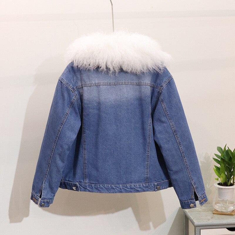 B Femelle Occasionnel Automne Veste De Vestes Denim Mode d Col Épaississent a 2018 Et Femmes D'hiver Fourrure Manteaux Outwear Nouvelle Grand c UwFxEqvg