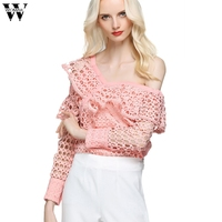 Womail Sexy Hollow Out Blouse Women Tops Fashion Off Shoulder Irregular Long Sleeve Blouse Office Lady Blusas Femininas Dec5