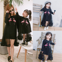 Mother Daughter Flamingo Dress Outfits Mom and Newborn Baby Matching Sets Dress Family Look Swan Clothing Christmas Pajamas
