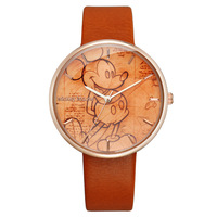 Disney Original Brand Child Boy Girl Watches Orange Band Leather Clocks Mickey Mouse Cartoon 30m Waterproof