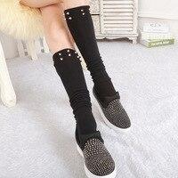 2018 sexy sólido Medias Stocking rodilla Calcetines la venta directa de la fábrica coreana pila de calcetines para usar día lazo señora Top moda