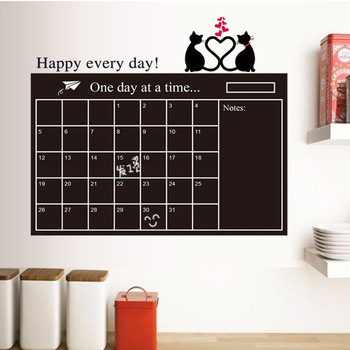 Calendar Blackboard Cat Love Sticker