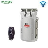 RAYKUBE беспроводной дверной замок Электрический домашний Противоугонный замок безопасности замок для домашнего офиса с пультом дистанционн