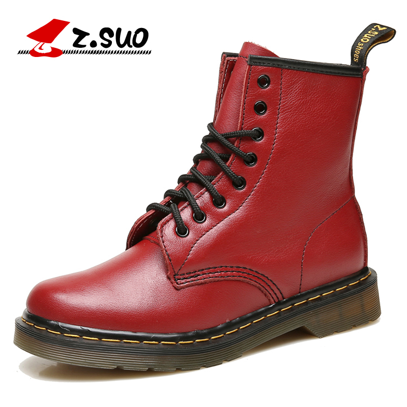 Фотография Z.Suo Women Winter Boots Fashion Genuine Leather Flat Ankle Boots Lace-up Comfortable Female Motorcycle Boots botas mujer ZS1460