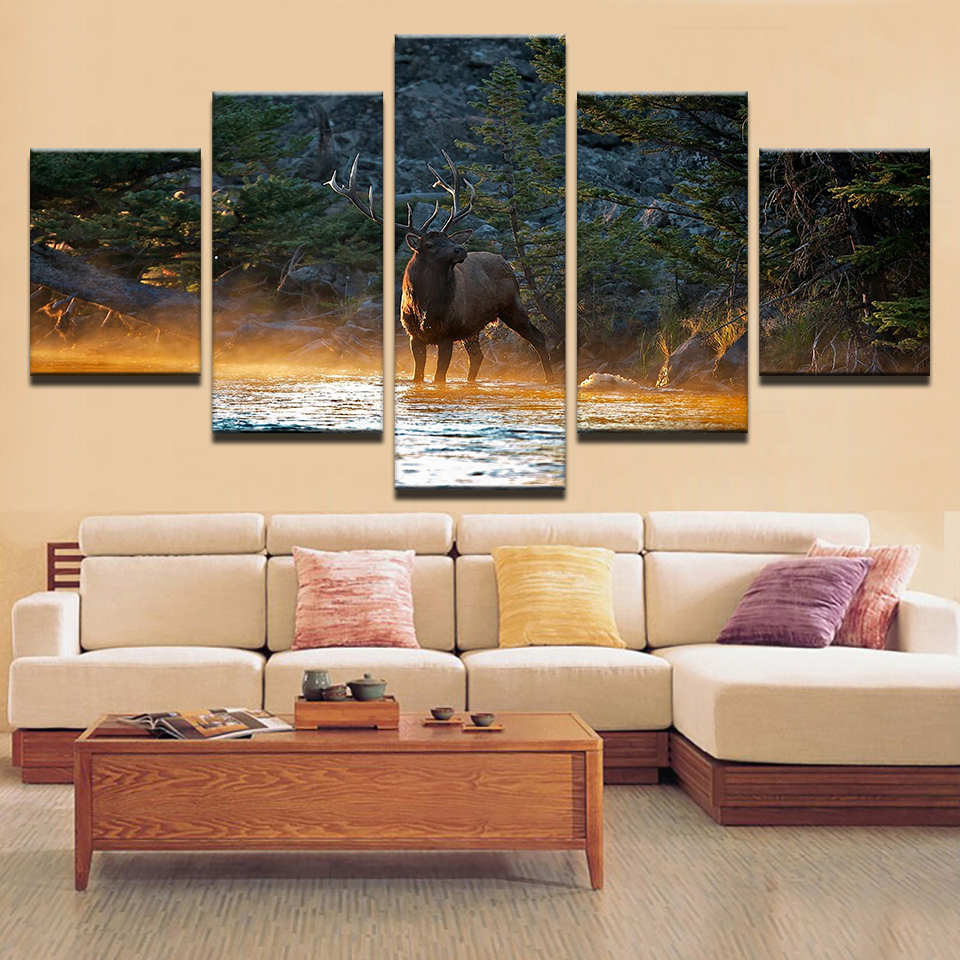 Lovely Animal Deer Framed Fashionable Home Wall Decor Five