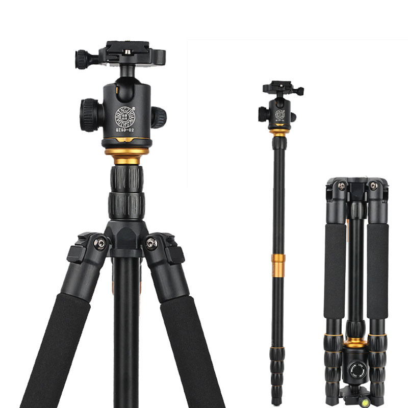 QZSD Q666 Professional Photographic Portable Tripod Monopod with Ball Head For SLR DSLR Camera DV / Stand to Camera / Fold 35cm
