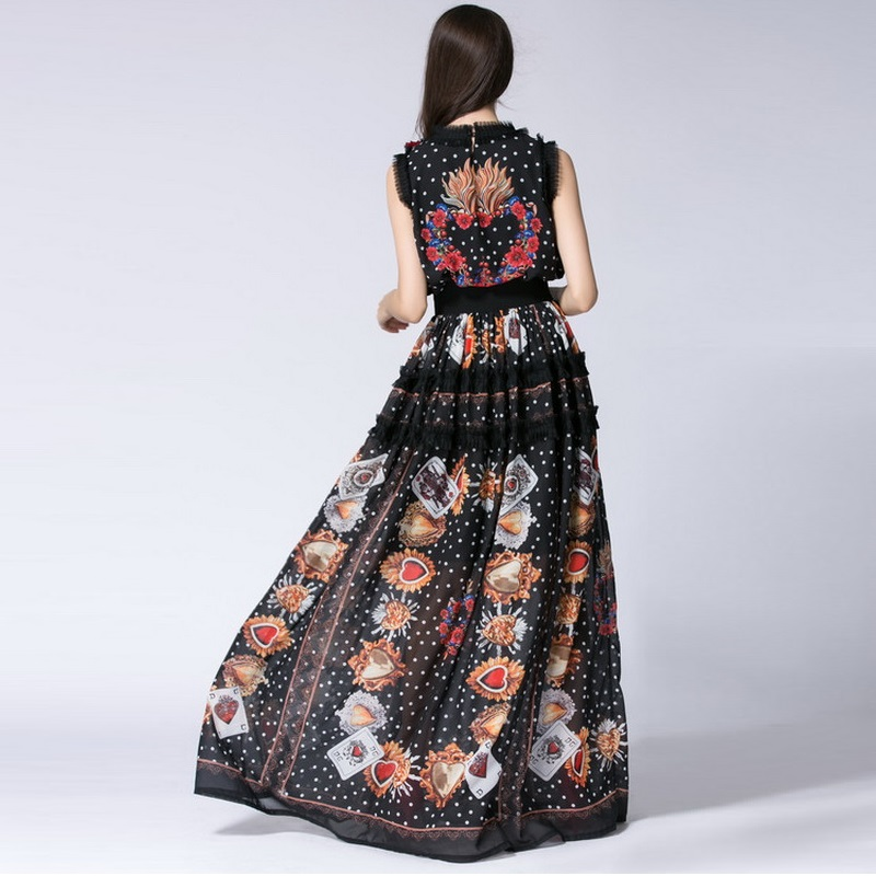8883e03545c New 2018 Spring Maxi Dress Plus Size Big Women Sweetheart Prints Embroidery  Lace Patchwork Sleeveless Silk Long Dress 7xl 6xl 5x-in Dresses from Women s  ...