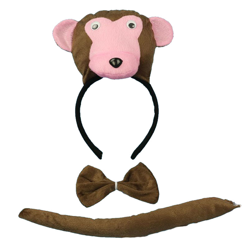 Festive & Party Supplies Able Cartoon Animal Monkey Ear Headband Bow Tie Tail Cosplay Set Kids Women Girls Prop Party Favor Gift Christmas New Year Excellent In Cushion Effect