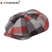 BUTTERMERE Newsboy Cap Wool Men Women Octagonal Woolen Male Tweed Panel Plaid British Style Brand Vintage Flat Beret