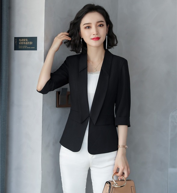 2019 New Style Casual Ladies Black Blazers Women Jackets Half Sleeve Ladies Work Wear Uniforms Business Clothes Fashion Y1185