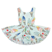 2017 New Baby Girl Summer Dress Sleeveless Ice cream Print V-neck Princess Girls Party Dresses Romper Outfits Sundress Clothes