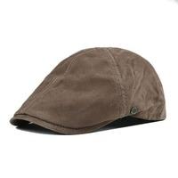 VOBOOM Pigskin Leather Beret Flat Caps Vintage Retro Men Women Real Pigskin Ivy Cap Cabbie Hats Newsboy Boina 153
