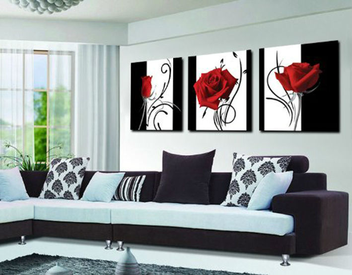 Aliexpress.com : Buy 3 panel red rose Home Decorative Canvas Painting Living  Room Wall Art Set on Canvas Painting printed art picture Framed GA427 from  ... - Aliexpress.com : Buy 3 Panel Red Rose Home Decorative Canvas