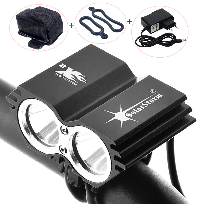 SolarStorm Cycling Bicycle Bike Front Light 5000 Lumen 2x XM-L U2 LED Flashlights Lamps For Bike + Battery Pack + Charger