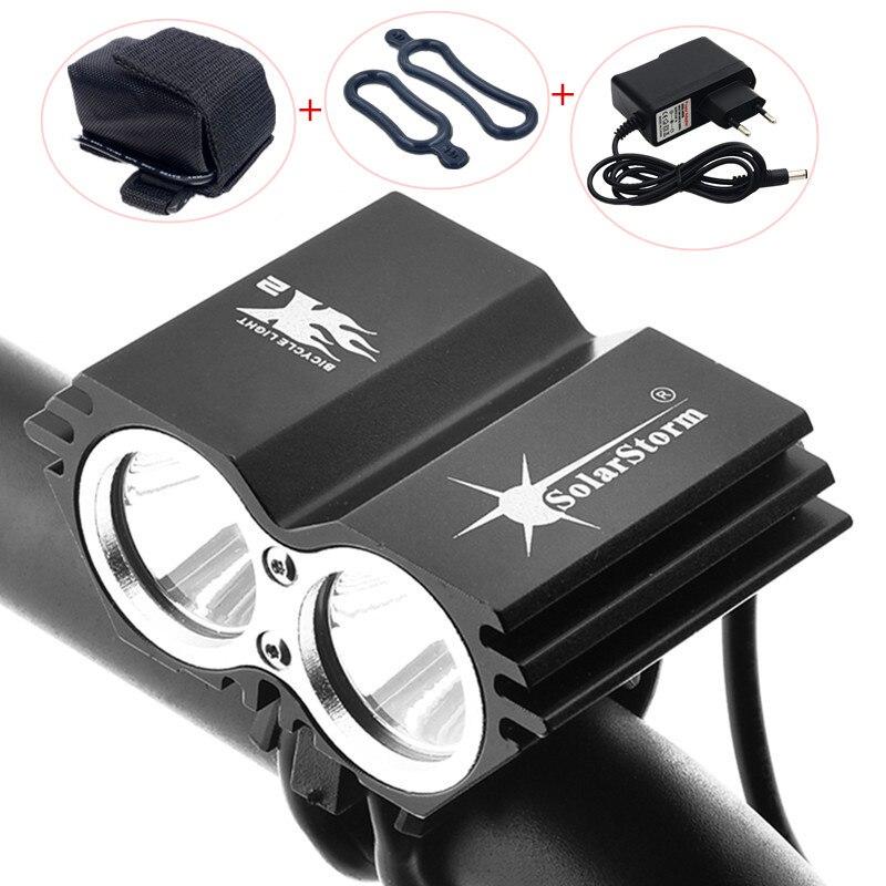 SolarStorm bicicleta ciclismo luz delantera 5000 lúmenes 2x XM-L U2 linternas LED lámparas para bicicleta + batería + cargador