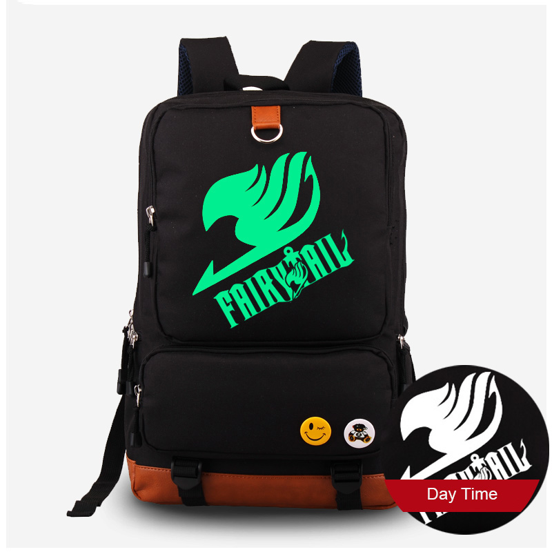 ФОТО Fairy Tail Logo Printing Luminous Canvas Backpack Fluorescent Laptop Travel Shoulders Bag Women Men Cartoon Rucksck Knapsack