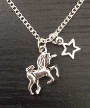 Vintage Silver Unicorn Horse Stars Necklace Pendants For Women Fashion Jewelry Chain Retro Collares Charms Bijoux Clavicle NEW(China)